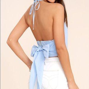 Lulus light blue cropped top
